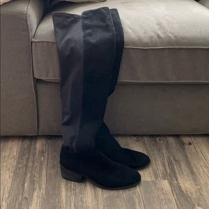 Black faux suede over the knee boots. Size 7.